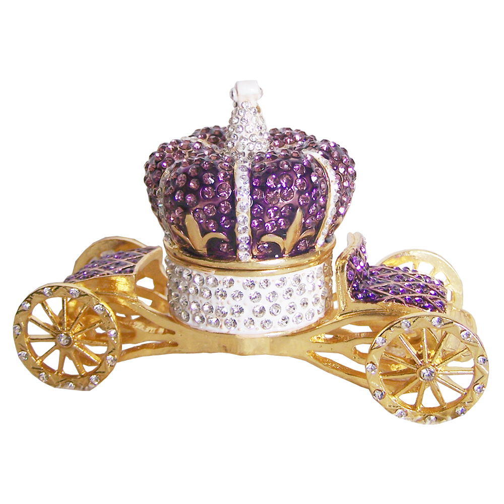 Crown Carriage Wedding Engagement Ring Box Bejeweled Trinket Box Unique Vintage Decor Collectible Gifts for Her