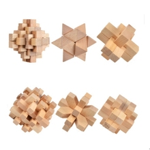 6 pcs/set 3D puzzle handmade vintage Ming lock Luban lock wooden toys adults puzzle children for Early Education toys