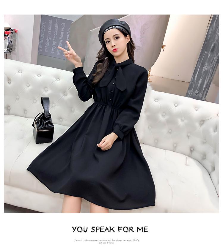 fashion bow collar women dresses party night club dress 2019 new spring long sleeve solid chiffon dress women clothing B101 16