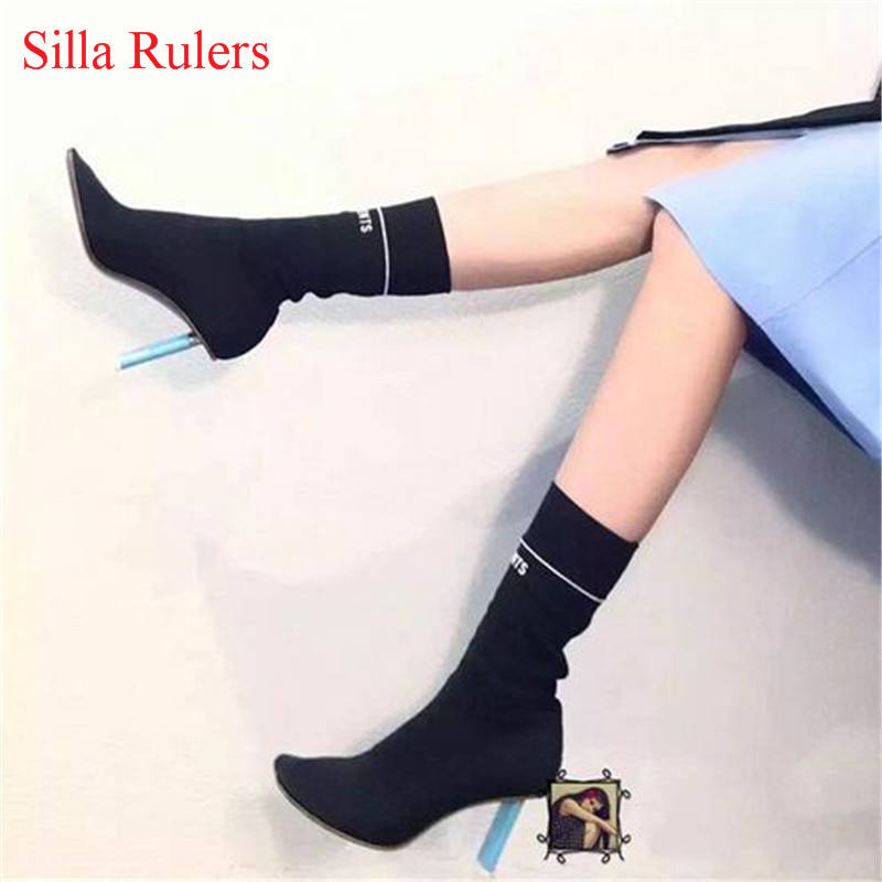 New Fashion Design Lighter High Heels Stretch Women Boots Sock Jersey Autumn Ankle Boots Ladies Shoes Woman Booties Botas Mujer 2017 fashion women shoes stretch fabric women boots sock jersey ankle boots black green apricot high heels lady s shoes woman