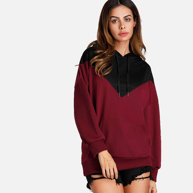 SheBlingBling Women Two Tone Tops Spring Fashion Long Sleeve Hooded Sweatshirts Pocket Front Drop Shoulder Women Hoodies