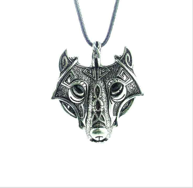 1pcs high quality COOL Style Norse Vikings Pendant Necklace Norse Wolf Head Necklace Original Animal Jewelry Wolf Head hange