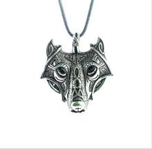 купить 1pcs high quality COOL Style Norse Vikings Pendant Necklace Norse Wolf Head Necklace Original Animal Jewelry Wolf Head hange дешево