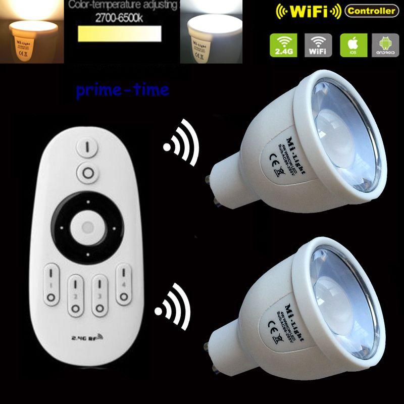 2 pièces Mi. lumière 2.4G 5 W GU10 CCT LED ampoule couleur température réglable double blanc Compatible WiiFi + 1 xWireless RF 4 zones à distance