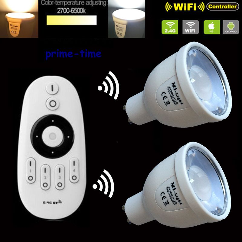 2pcs Mi.Light 2.4G 5W GU10 CCT LED Bulb Color Temperature Adjustable Dual White WiiFi Compatible +1xWireless RF 4-Zone Remote