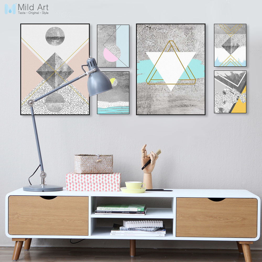 Abstract Geometric Texture Shape Large Canvas Art Poster Print Wall ...