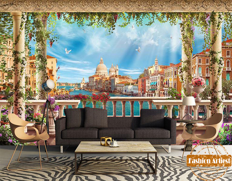 Custom 3d vintage city river scenery wallpaper mural for Antique wallpaper mural
