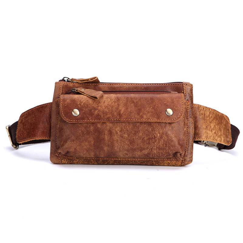 Nesitu High Quality Vintage Brown Coffee 100% Guarantee Real Skin Genuine Leather Waist Bags Women Men Cowhide #M8136 stylish zinc alloy cowhide waist decoration keychain brown coffee