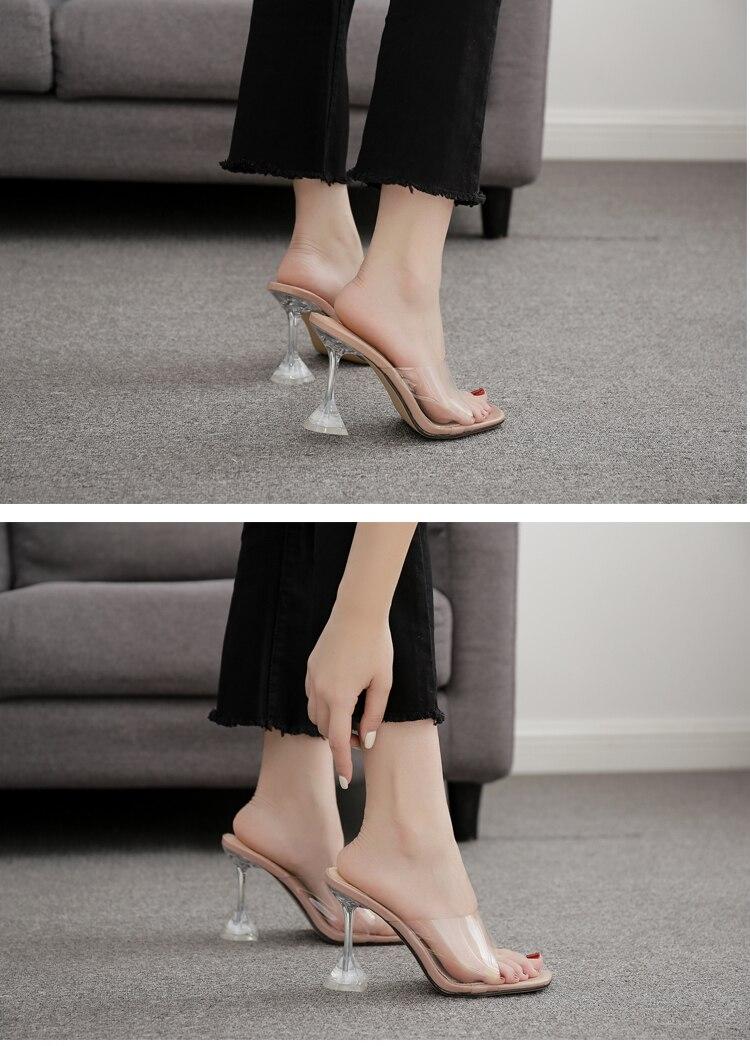 HTB1dqMRXET1gK0jSZFhq6yAtVXa6 Eilyken Orange Silver PVC Jelly Slippers Open Toe High Heels Women Transparent Perspex Slippers Shoes Heel Clear Sandals Size 42