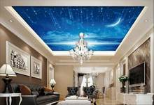 custom 3d wallpaper for ceiling Star Moon 3d wall murals living room bedroom 3d ceiling wall paper rolls(China)