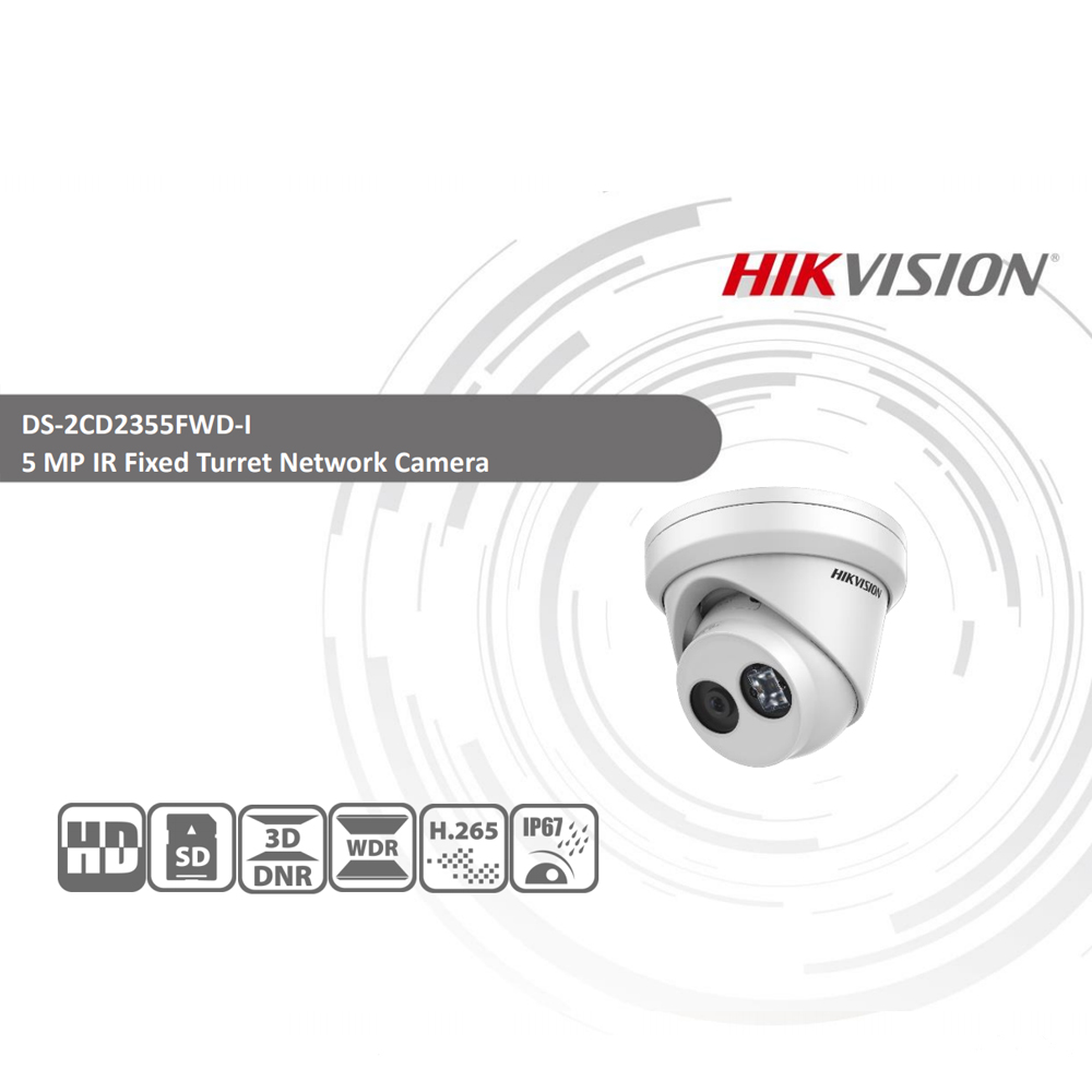 Image 2 - HIKVISION H.265 Camera DS 2CD2355FWD I 5MP IR Fixed Turret Network Camera MINI Dome IP Camera SD card slot Face Detect-in Surveillance Cameras from Security & Protection