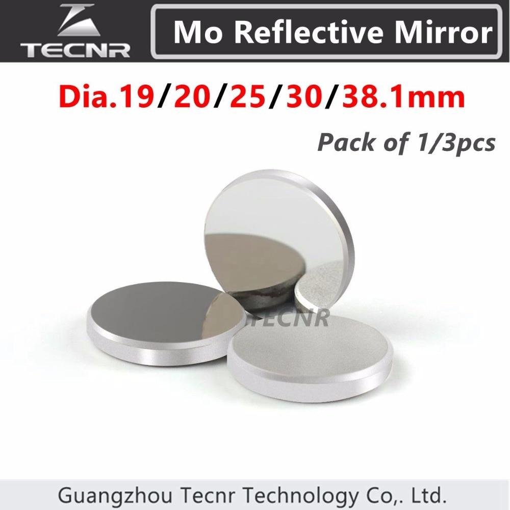 3pcs Mo Co2 láser espejo diámetro 19 20 25 30 38.1mm para máquina de grabado láser