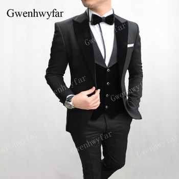 Gwenhwyfar Men Wedding Suits 2019 New Velvet Vest Custom Made Black Tuxedo 3 Piece Groom Terno Suits For Men (Jacket+Vest+Pants)