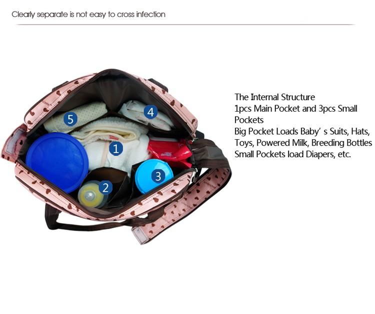 insular multifunctional diaper bags maternity mummy handbag baby care stroller bag High capacity mother Messenger nappy bags 7