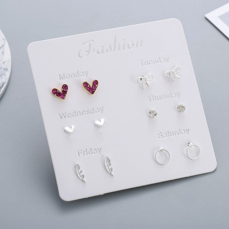 6 Pairs/set One Week Stud Earrings Set For Women 2019 Fashion Red Crystal Heart Round Bow Leaf Silver Earring Mixed Girl Jewelry