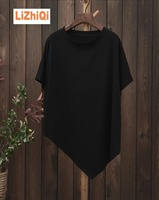 LIZHIQI Cotton 100 Irregular Pullover T Shirt Short Sleeve Female Brief Loose Solid Color Batwing Shirt