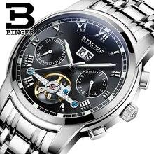 2017 New BINGER men's watch luxury brand Tourbillon sapphire luminous multiple functions Mechanical Wristwatches B8601-3