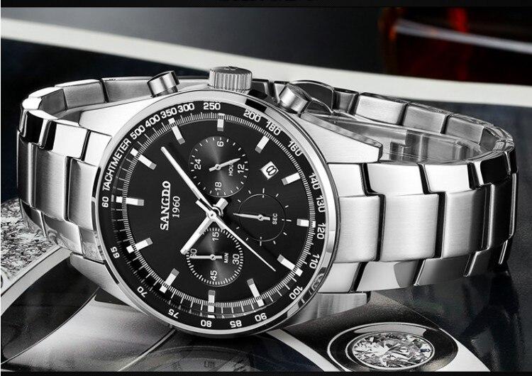 42 мм SANGDO многофункциональный хронограф японский кварцевый механизм черный циферблат Мужские часы Высокое качество Новая мода кварцевые ча...