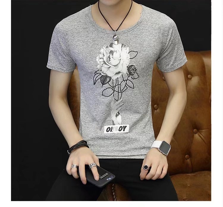 Spring 100% Cotton Casual Short Sleeve Rose Printing Men T Shirt O-neck Knitted Comfortable Fabric Street Style Men T-shirt 52