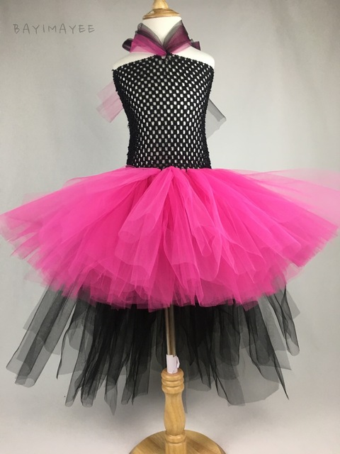 7fdbc76fd8 Girls Black Pink Rocker Queen Tutu Dress Baby Fluffy Crochet Tulle Dress  Kids Cosplay Costume Tutu Children Party Trailing Dress