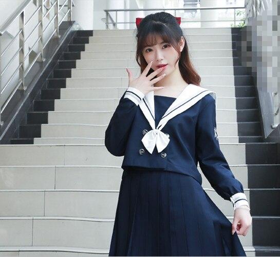 Nouveau japonais/coréen mignon filles marin costume étudiant école uniformes vêtements tenues chemises courtes/longues + jupe + cravates ensembles