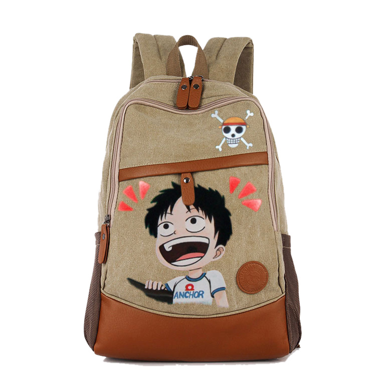Anime One Piece Cosplay Monkey D Luffy Canvas  female Japanese and Korean college wind travel backpack student bag graffiti anime tokyo ghoul cosplay anime shoulder bag male and female middle school student travel leisure backpack