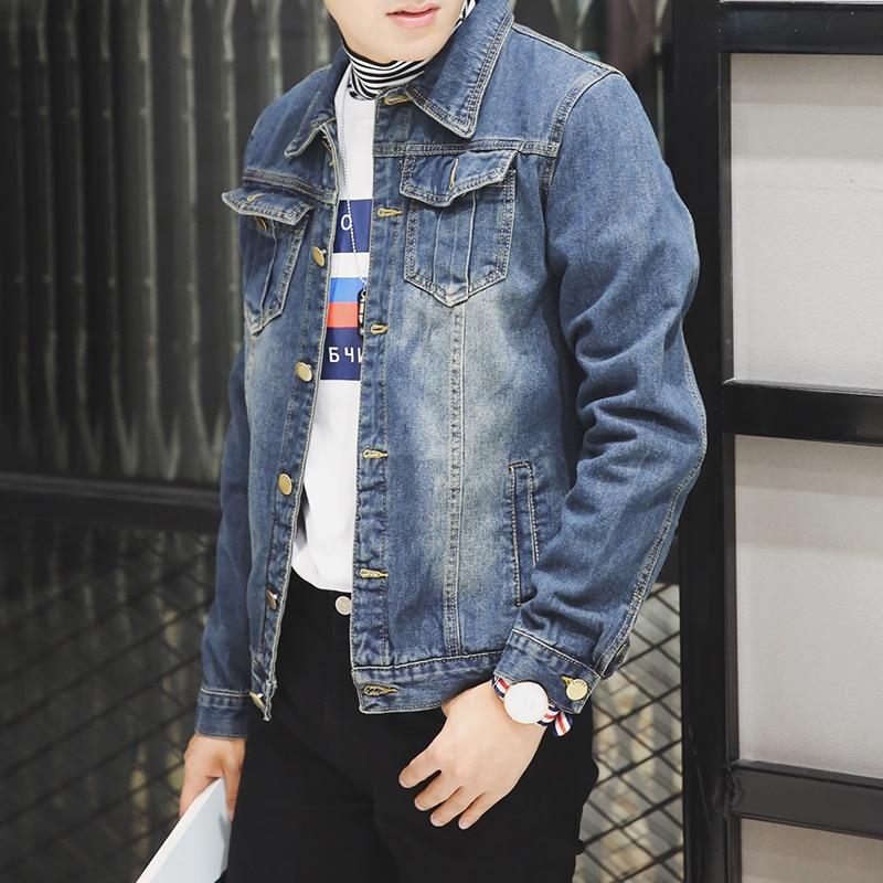 2018 New Spring Autumn denim jacket men fashion streetwear Male Vintage Frayed jeans jacket Fashion Design Male Vintage Frayed