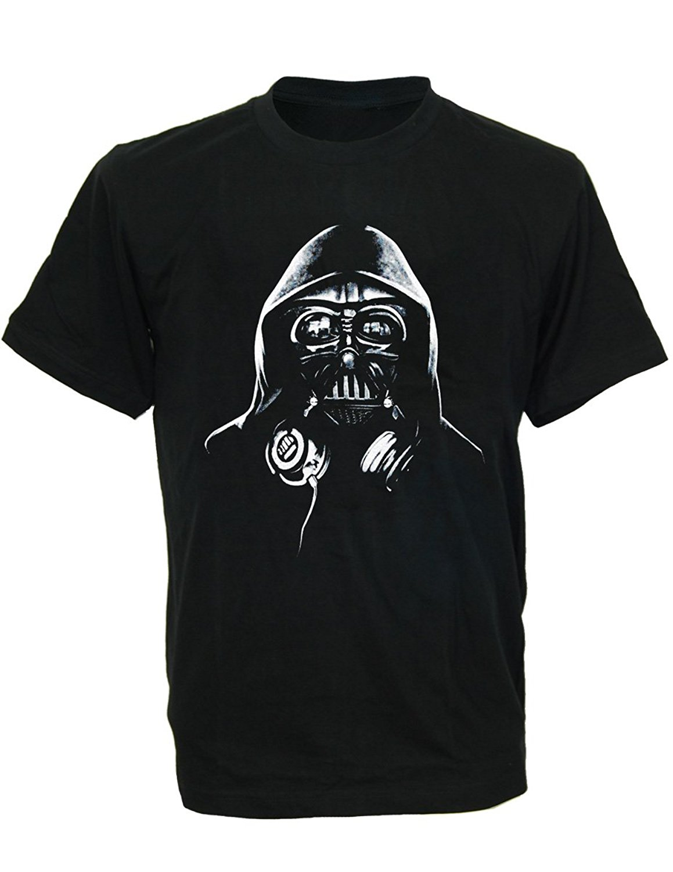 GILDAN Men's O-Neck Short Funny T Shirt Fashion cool DJ DARTH VADER headphones Men's T-Shirt star wars man t-shirt
