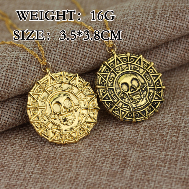 Fashion Retro Caribbean Pirates Aztec Gold Coins Skull Men Necklace