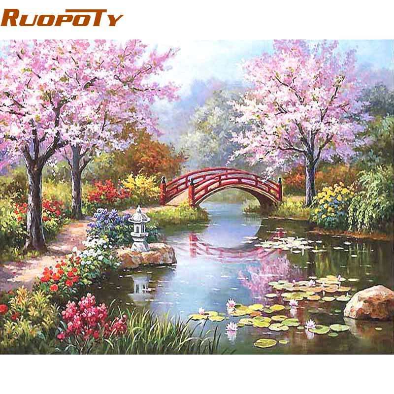 RUOPOTY Frame DIY Painting By Numbers Kits Coloring Paint On Canvas Hand painted Oil Painting Home Decor For 40*50cm Fairyland