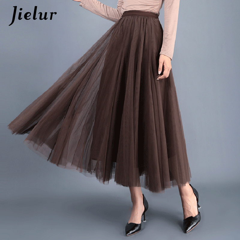 Jielur Skirts Womens Autumn 3 Layers Princess Tulle Mesh Pleated Skirt Saia Female Jupe Summer Tutu Skirts Faldas Mujer Moda 4
