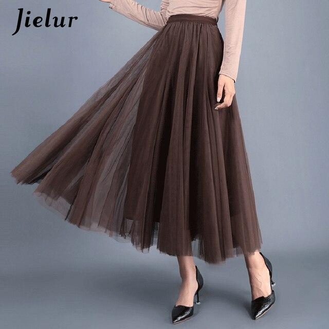 Jielur Skirt Autumn 3 Layers Princess Tulle Skirts Womens Mesh Pleated A-line Saia Female Jupe Tutu Skirts Faldas Mujer Moda 5