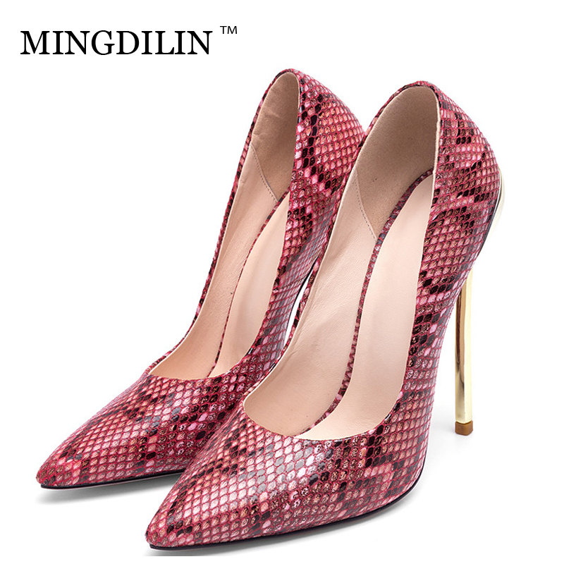 MINGDILIN Stiletto Women's Snakeskin Pumps Wedding High Heels Shoes Party Woman Snakeskin Shoes Fashion Sexy Pointed Toe Pumps cocoafoal woman pointed toe pumps pink black brown fashion sexy high heels shoes snakeskin genuine leather career pumps 2017