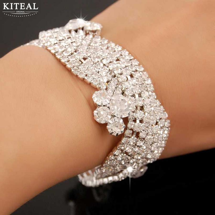 KITEAL 2017 new Crystal Bridal bracelets & bangles flower se wedding jewelry one direction prices in euros ...