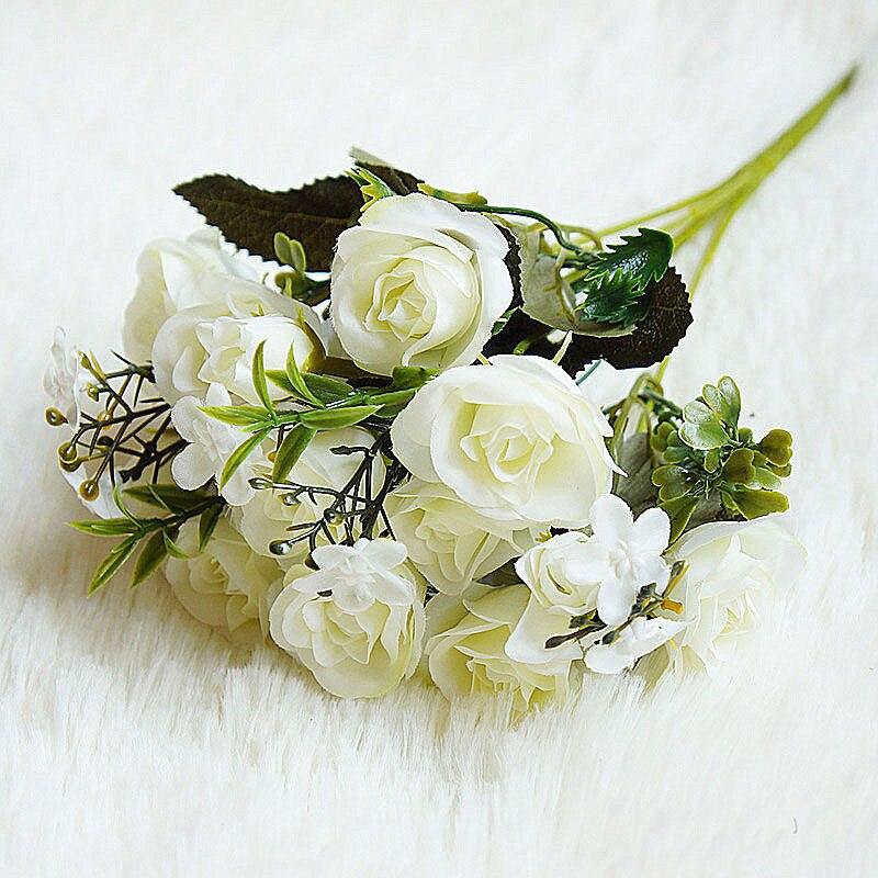 10 Heads Artificial Hydrangea Floral Bouquet Silk Roses Flowers Leaf Wedding Bridal Party Supplies Home Garden Decoration