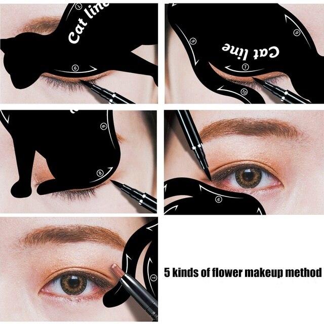 2Pcs Cat Line Stencils Pro Eye Makeup Tool Eyeliner Stencils Template Shaper Model Eyebrows Eyeshadow 2