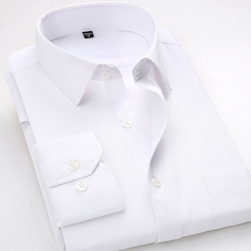 2018 New Style Mens Shirts Long Sleeve Casual Solid Twill Male White Dress Shirt Formal Work Office Menswear Camisa Masculina4XL