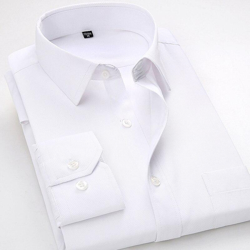 2018 nuevo estilo para de manga larga Hombre Camisas Casual de sarga Hombre blanco vestido Formal de trabajo Oficina Ropa Camisa Masculina4XL