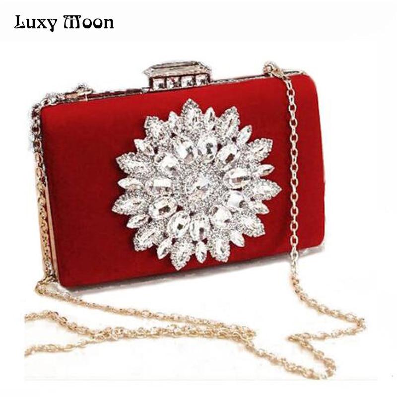 Flor grande Rhinestone bolsa de embrague bolsos de Noche rojo Negro de China est