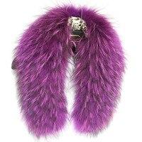 Женские модные аксессуары, шарф из натурального меха, меховые воротники, Женское зимнее пальто, меховые шарфы из меха енота, шарфы фиолетово