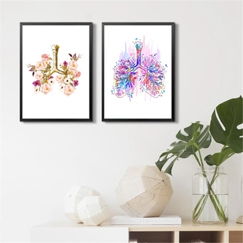 Anatomy Poster Lung Art Canvas Prints , Watercolor Bronchi And Lungs Medical Wall Art Painting Pictures Anatomy Decoration