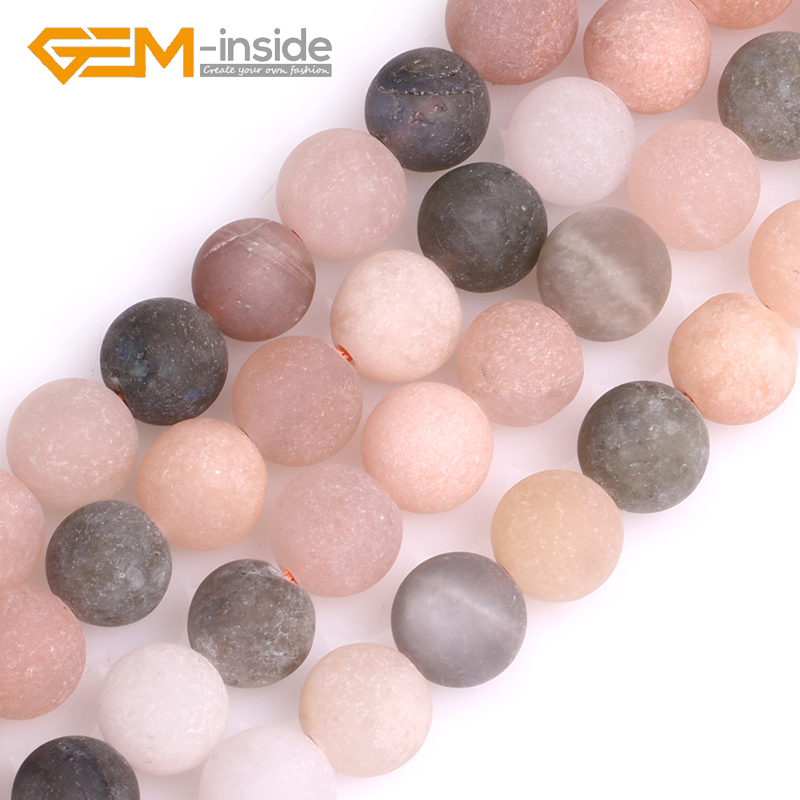 6mm 8mm 10mm Natural Multicolor Moonstone Stone Semi Precious Matte Frosted Round Beads for Jewelry Making Strand 15Inches DIY цены