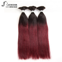 Joedir Remy Straight Bulk Human Hair For Braiding 3 Bundles Brazilian Ombre T1b/99j Color Hair Extensions Free Ship