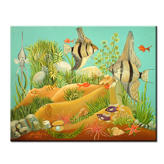 dp artisan fish art anna mary robertson grandma moses wall painting print canvas home decor oil