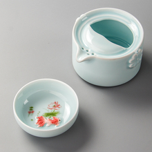 Celadon Teapot Travel Teacup Ceramic Fish Cup Kettle Ceramic Portable Travel Tea Set Friend Gifts 1 Gaiwan 1 Cup D038