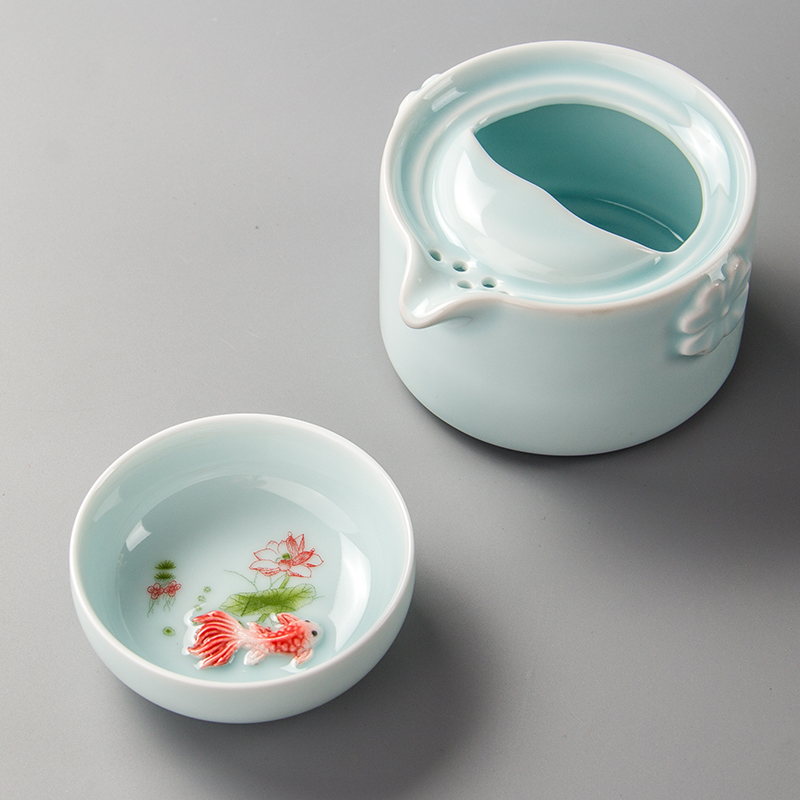 Celadon Teapot Travel Teacup Ceramic Fish Cup Kettle Ceramic Portable Travel Tea Set Friend Gifts 1 Gaiwan 1 Cup porcelain D038