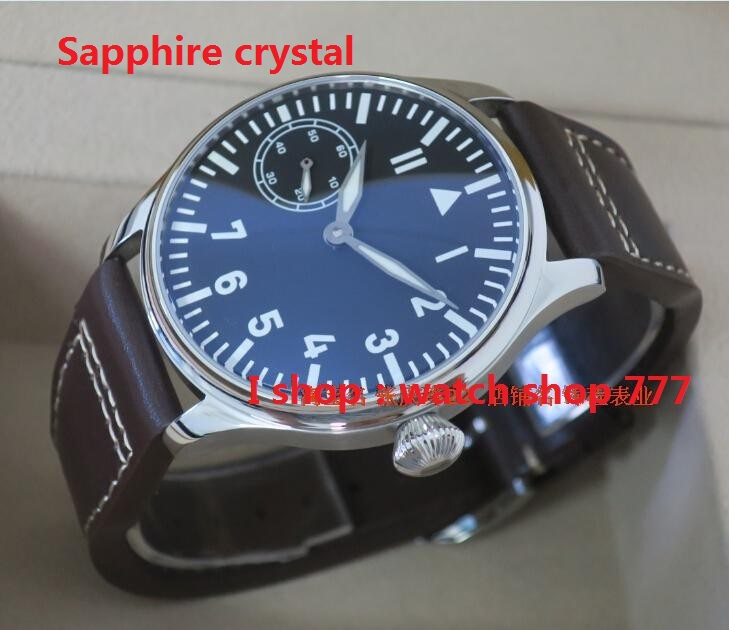 Sapphire crystal PARNIS big pilot ST3600/6497 gooseneck fine-tuning movement blue luminous watches men's watch wholesale