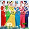 2016 Novos Peixes Dai Dança Do Pavão Traje de Dança Vestido Mão Lantejoulas Vestidos de trajes de dança chinesa dança folclórica chinesa