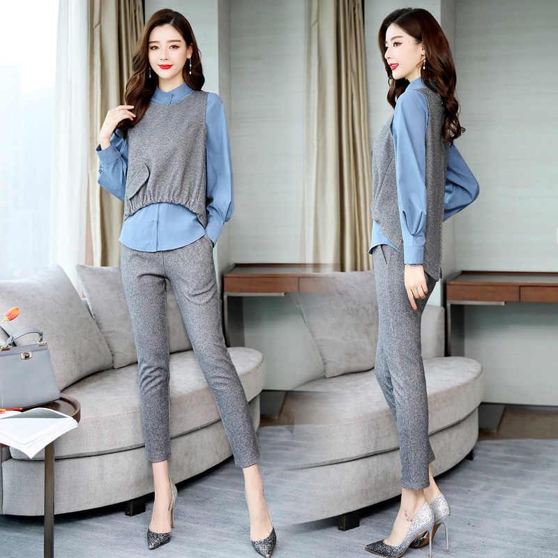 Primavera Oficina 3 piezas conjuntos mujer Blusa de manga larga + chaleco + Pantalones conjuntos Casual coreano elegante mujer conjuntos de mujer 2019