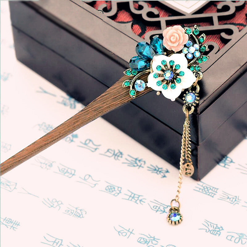 muylinda ljuska cvijet drveni ukosnice palice Crystal Rhinestone kose nakit kineski svadbeni vjenčanja kose pribor